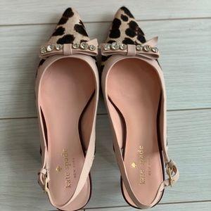 Kate Spade animal print sling back kitten heel